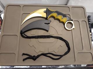Faca Karambit Cs Go Full Tang Dourada + Bainha Em Polímero