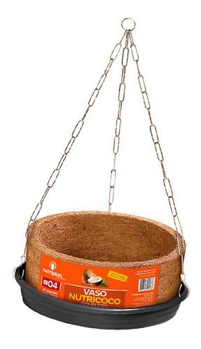 Imagem 1 de 1 de Kit Vaso Xaxim Fibra De Coco Nº1 Com Prato E Corrente