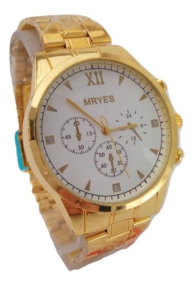 Relógio Mryes Masculino Aço Dourado Barato Ostentação Último