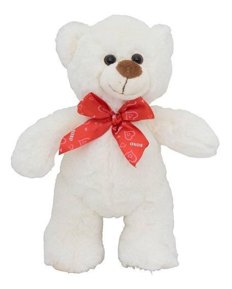 Urso De Pelúcia Fofa Com Laço 28 Cm Anti Alérgico Branco