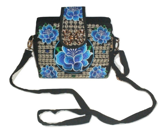 Mini Bolsa Bordada Correa Hombro Bolso Broche Mariposa $699a