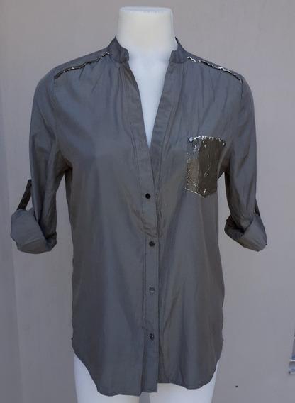 Camisa De Satén Verde Militar