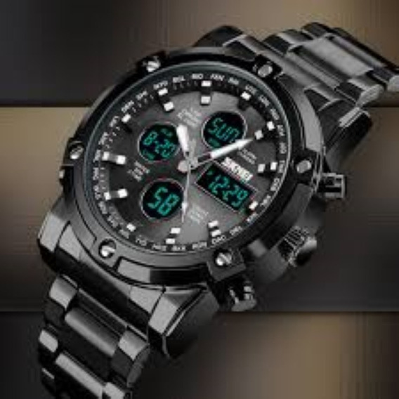 Relógios Skmei 1389 Digitais Led Pulseira De Aço Masculino