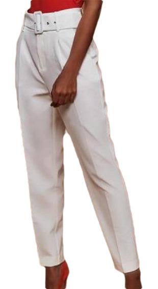 Cintura Alta Slim Fit Cropped Cinto Paper Bag Calças Calças