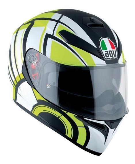 Casco Moto Agv K3 Sv Avior Matt White Lime Pista Devotobikes