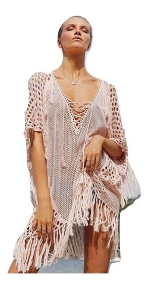 Super Elegante Cover Up Vestido Pareo Tejido Salida Playa