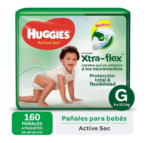 Pañales Huggies Active Sec Xtra-flex Ultrapack Pack X 4