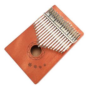 17 Chaves Kalimba Africano Sólido Mogno Polegar Dedo Piano