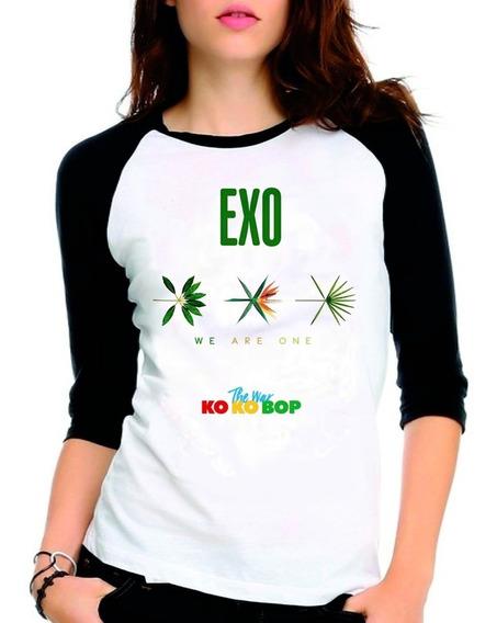 Camiseta Exo The War Ko Ko Bop Raglan Babylook 3/4