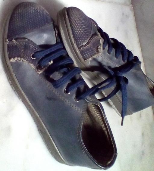 Zapatillas 33/34 Cordon Azul Engomado Rustico Barracas Paler