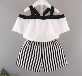 Conjunto Infantil Luxo Feminino Camisa Camiseta Mais Short