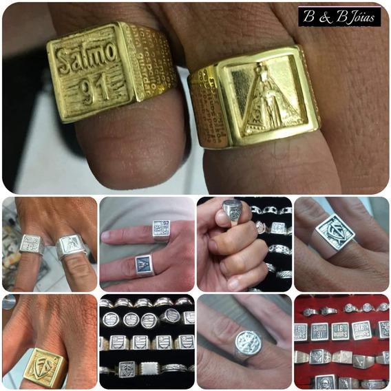 Anéis De Prata Com Banho De Ouro 24 K