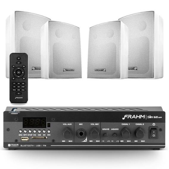 Som Ambiente Frahm Slim 1600 Bluetooth + 4 Caixas Ps200 Plus