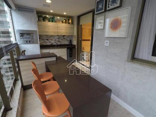 Apartamento Com 4 Dormitórios À Venda, 138 M² Por R$ 1.500.000,00 - Icaraí - Niterói/rj - Ap3538