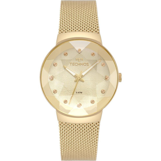 Relógio Feminino Technos Crystal Dourado - Original