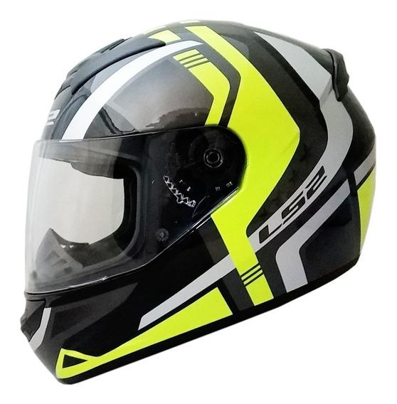 Casco Moto Ls2 Ff352 Locus Negro Gris Amarillo