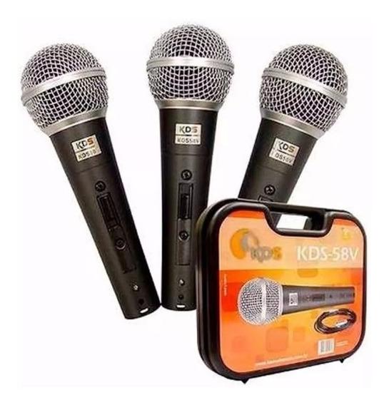 Microfone Kadosh Kds 58v Kit Prof Com 3 Peças Cabos E Estojo