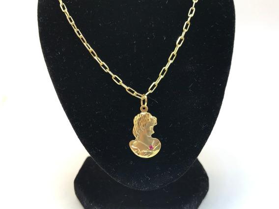 Colar De Ouro 18 K Cartier Cadeado Pingente Madonna