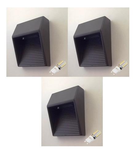 Imagem 1 de 6 de 3 Balizador Sobrepor Inclinado Aluminio 15200 Preto + 3 Led