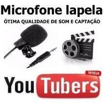 Microfone Lapela Stereo Youtubers Gravação Audio Vídeo