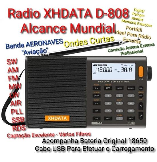 Radio Xhdata D-808 Fm/sw/mw/lw/ssb/ Aviação / Ondas Curtas