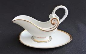 Molheira Porcelana Portuguesa Arrematada Com Filetes À Ouro