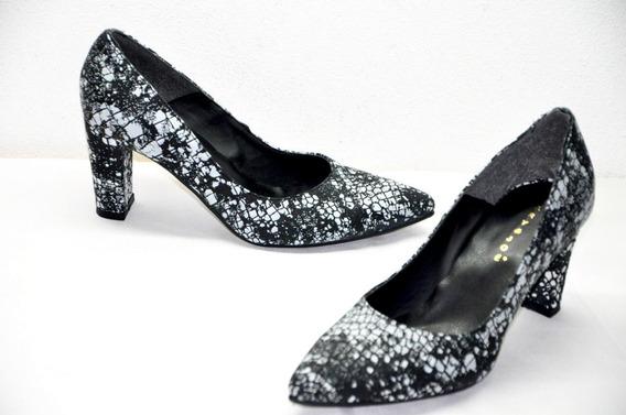 Zapato Mujer Vestir Taco Cuero Reptil Blanco Negro Liviano Moda Mary Joe Zap Risso