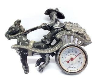 Antiguo Coleccionable Adorno Metal Termómetro Carreta
