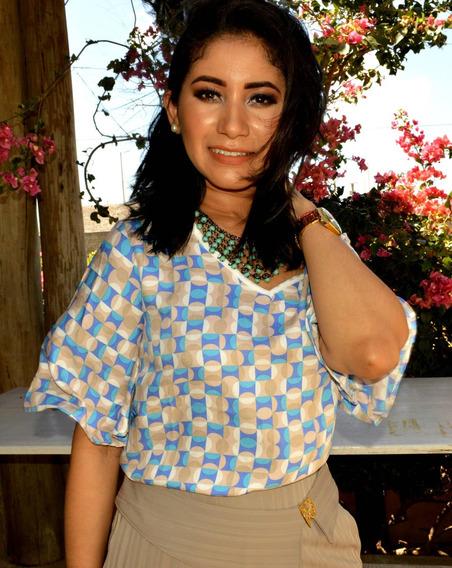 Blusa Estampada Azul Com Manga Média Evasê - 90533