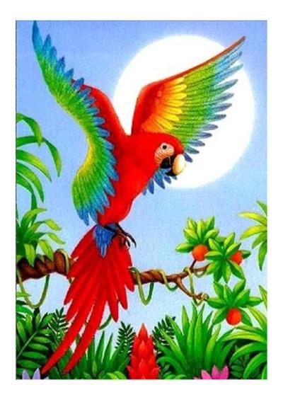 Flor Papagaio Diamante Diy Pintura Bordado Cross Stitch Casa
