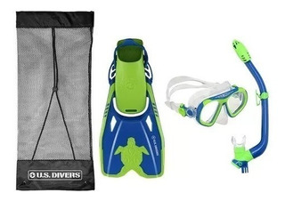 Kit De Buceo Snorkel Visor Aletas Us Divers Para Niños