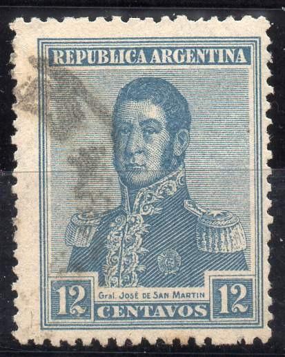 Argentina 1920. 12c S. Martin Con Filigrana Sol Fiscal,usado