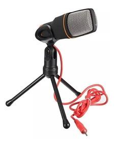 Microfone Condensador Tripé Para Gravação Pc Cabo 100% Nf