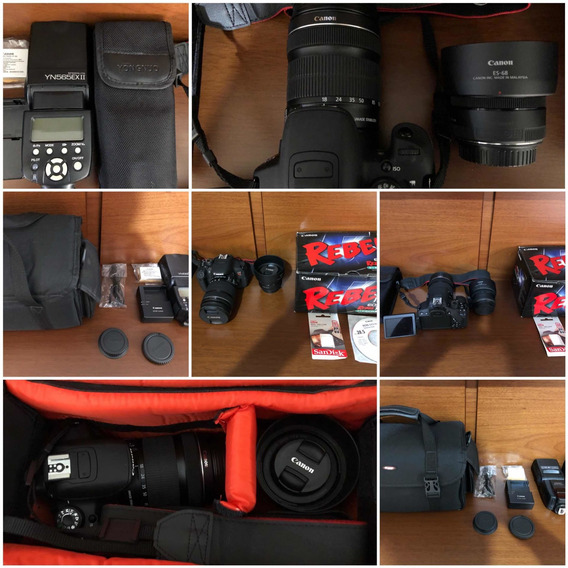 Canon T5i + Lente 18-135 + Lente 50 + Flash + Card + Bolsa