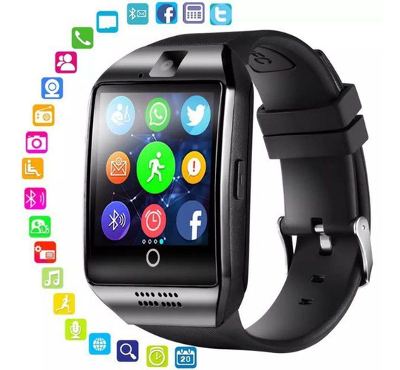 Smartwatch Q18 Curvo Relógio Inteligente Bluetooth Com Chip