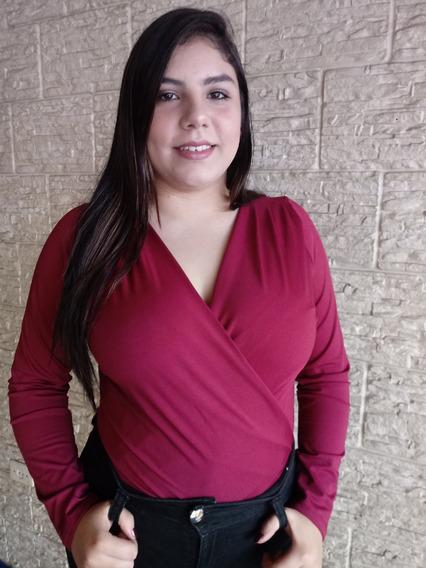 Body Feminino Plus Size Transpassadomanga Longa Lindo 2018