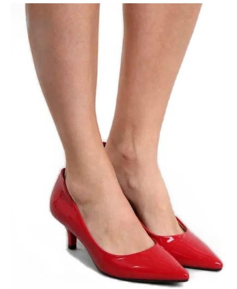 Sapato Scarpin Salto Médio Bico Fico Clássico Vegano 2019