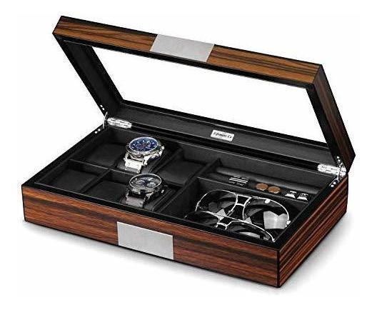 Lifomenz Co - Caja De Joyería Para Relojes De Hombre Con 6