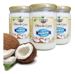 Óleo De Coco Extravirgem Finococo Premium 500ml Kit Com 3un.