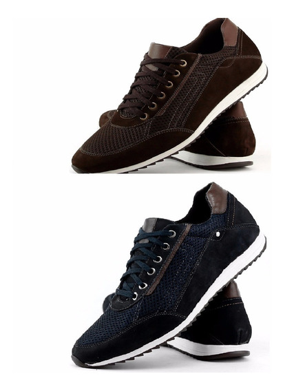 Kit 2 Pares Tênis Casual Masculino Couro