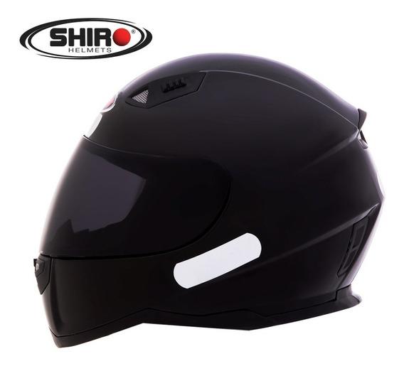Capacete Fechado Moto Shiro-881 Mono Preto Brilhante