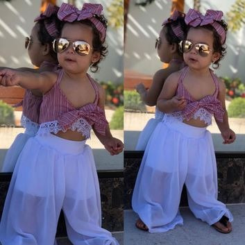 Roupa Conjunto Bebê Cropped Renda Calça Flare Tule Importado
