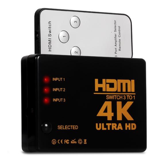 Hub Switch Hdmi 3 Entrada 1 Saída 4k Divisor Com Controle