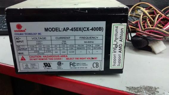 Fonte Atx 24 Pinos +sata Coolmax Modelo:ap-450x(cx-400b)