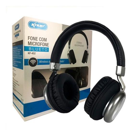 Fone De Ouvido Bluetooth Fm Micro Sd P2 Knup Modelo Kp452