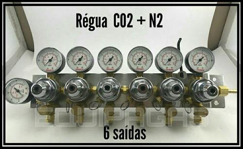 Imagem 1 de 2 de Regulador De Pressão Mistura Co2 + Nitrogênio Chopp 6 Saídas