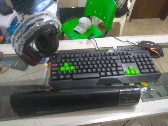 Kit Gamer, Teclado, Mouse, Caixa De Som E Headset