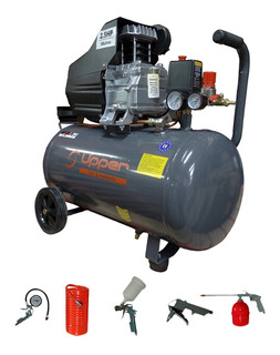 Compresor Aire Acople 2.5hp X 50 L Upper + Kit 5 Pzs + Envio