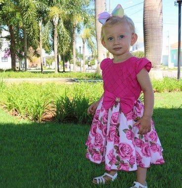 Vestido Infantil 1 Ao 4 Florido Pink Katitus 1446