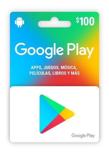Imagen 1 de 3 de Tarjeta Google Play 100$ (republica Mexicana)